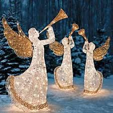 lighted christmas yard angels outdoor holiday lighted animated christmas trumpeting angel yard art