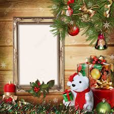 Christmas Tree Picture Frames Christmas Greeting Card With Frames For A Family Stock Photo