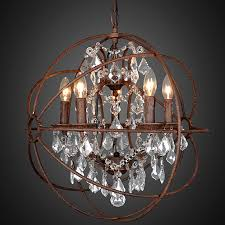 Rustic Chandeliers With Crystals Orb Chandelier Rustic Iron Replica Foucault Lighting Rcb