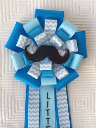 mustache baby shower corsage pin little man blue by iogtreasures