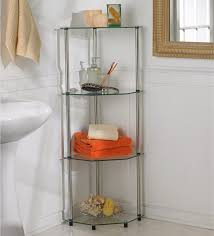 glass bathroom shelves glass and metal four tiers corner shelves freestanding for