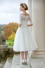 wedding dresses leeds rustic half sleeves lace tulle simple tea length a line wedding
