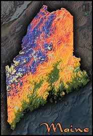 Topographic Map Of The World by Maine Topography State Map 3d Colorful Physical Terrain