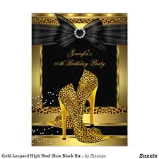 Gold Invitation Card Gold Leopard High Heel Shoe Black Birthday Party 4 5x6 25 Paper