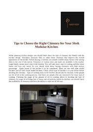 Sleek Modular Kitchen Designs by Tips To Choose The Right Chimney For Your Sleek Modular Kitchen
