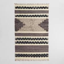 Kilim Area Rug Black And Gray Wool And Linen Kilim Inez Area Rug World Market