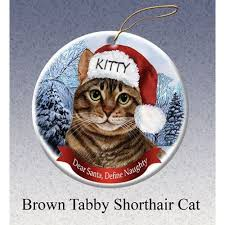 brown tabby cat personalized ornament cat ornament