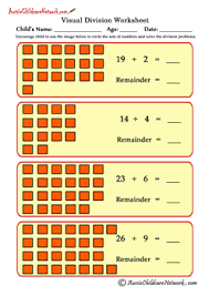 visual division worksheets with remainders aussie childcare