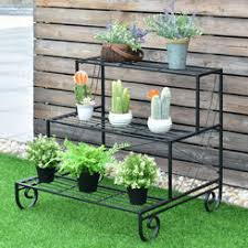 three tier metal plant stand