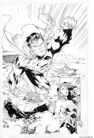 superman en direction de wonder woman dc comics coloring pages