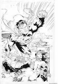 superman en direction de wonder woman dc comics coloring pages