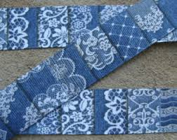 grosgrain ribbon by the yard 3 yards jean grosgrain ribbon denim ribbon denim and white ribbon