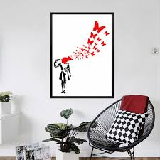 online buy wholesale banksy suicide butterflies from china banksy canvas painting suicide girl with butterflies by banksy poster canvas art wall pictures for living room