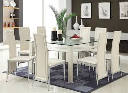 Amazing White Leather Dining Chairs And Table  About Remodel - White leather dining room set
