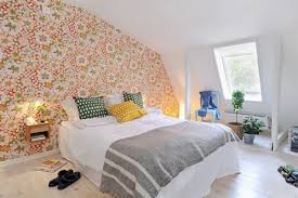 decor wallpaper and bedding with window treatment for small