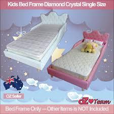 kids bed frame pu leather girls boys children baby diamond crystal