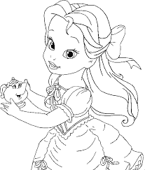 belle coloring kids princess coloring pages