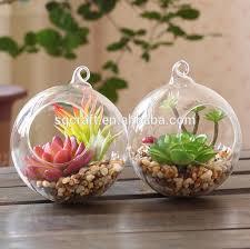 decorative mini glass garden with artificial succulent plants
