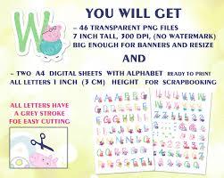 peppa pig alphabet clipart birthday decorations digital