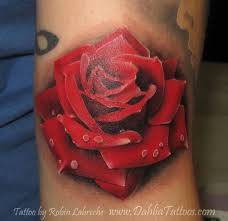 new 3d red rose tattoo for boys and girls real photo pictures
