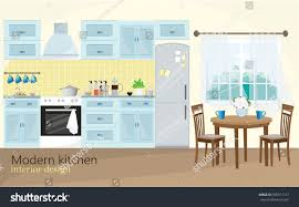 Modern Kitchen Interior Illustration Modern Kitchen Interior Design Blue Stock Vector