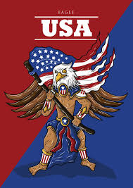Usa Flag Vector Man With Eagle Mask Holding American Flag Vector Image 1506535