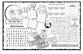 activity sheet sheets for children burger claim strike it rich in