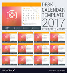 desk calendar template for 2017 year design vector image