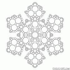 coloring page fractal snowflake