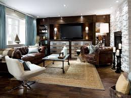 Chesterfield Sofa In Living Room by Traditional Beige Carpet For Cozy Family Room Ideas With Leather