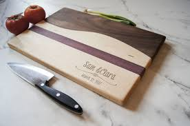 personalized cutting board maple walnut and a purpleheart stripe