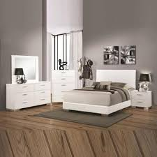 coaster glossy white queen king low profile platform bed with slat