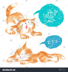 pencil sketches two cute cats isolated stock vector 275750627