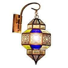 Moroccan Wall Sconce Morocco Clorful Glass And Copper Wall Sconce In Copper Finish 85