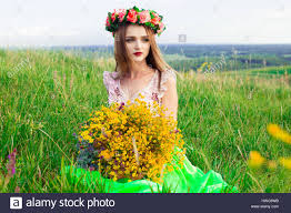 beautiful fashionable attractive with big wreath of beautiful