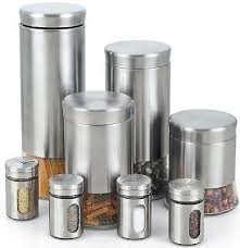kitchen canisters stainless steel canister spice jar stainless steel glass set 8 kitchen food