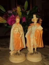thanksgiving pilgrim statues vintage mid century pilgrim figurines in plaster puritan