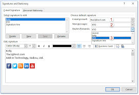 how to set the default signature in outlook