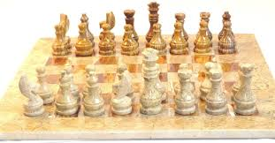 onyx marble chess set brown with gift box 16x16 decor in home