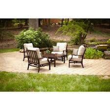 Patio Furniture With Fire Pit Set - hampton bay millstone 5 piece patio fire pit set with desert sand