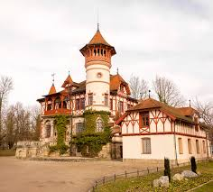 house with tower beautiful house with a big tower by the lake stock image image of