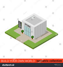 house store building plans flat 3d isometric computer electronics store stock vector