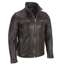 mens moto jacket black rivet leather faded seam moto jacket
