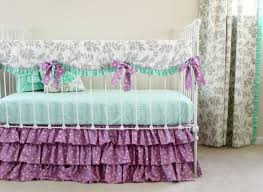 Purple And Teal Crib Bedding Bumperless Mint And Purple Bird Baby Bedding Set Lottie Da Baby