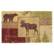 Forest Green Bathroom Rugs by Rustic Moose U0026 Bear Bathroom Accessories