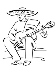 playing mexican guitar coloring page free printable coloring pages