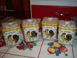 Antique Canisters Kitchen Vintage Rooster And Roses Spice Canister Set A