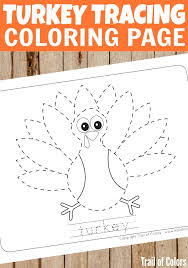 cute turkey tracing coloring kids thanksgiving