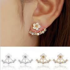 sided stud earrings zircon front back sided stud earrings
