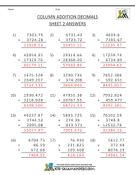 math worksheets for fifth grade adding decimals